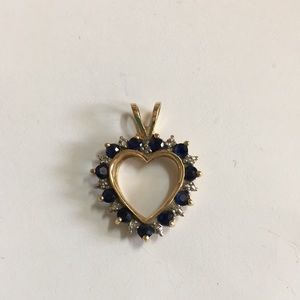 Jewelry - 14KT Yellow Gold Sapphire Diamond Heart Pendant